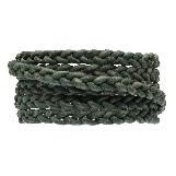 DQ Flat Braided Leather Vintage (6 x 3.5 mm) Safari Green (1 Meter)
