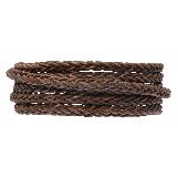 DQ Braided Leather Vintage (4 mm) Brown (1 Meter)