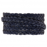 Flat Braided DQ Leather (5 x 2 mm) Navy Blue (1 Meter)