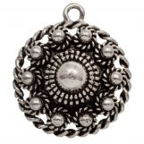 Traditional Button Pendant (28 mm) Antique Silver (1 pcs)
