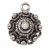 Traditional Button Charm (15 mm) Antique Silver (10 pcs)