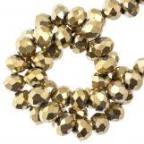 Faceted Rondelle Beads (3 x 4 mm) Frozen Gold (130 pcs)