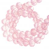 Faceted Rondelle Beads (4 x 6 mm) Bright Pink (90 pcs)