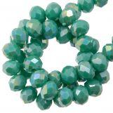 Faceted Rondelle Beads (4 x 6 mm) Aqua Green (90 pcs)