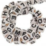 Acrylic Mix Letter Beads (7 x 8 mm) White (50 pcs)