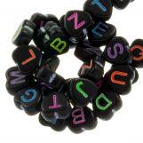 Acrylic Mix Letter Beads (7 x 7 mm) Black (200 pcs)