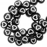 Acrylic Letter Beads Heart (6 x 3 mm) Black / White (350 pcs)
