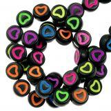 Acrylic Letter Beads Heart (6 x 3 mm) Mix Color (350 pcs)