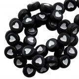 Acrylic Letter Beads Heart (7 x 4 mm) Black / White (350 pcs)