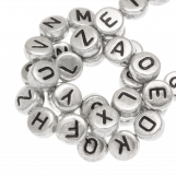 Acrylic Mix Letter Beads (7 x 3.5 mm) Silver (400 pcs)