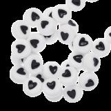 Acrylic Letter Beads Heart (7 x 3 mm) White (350 pcs)