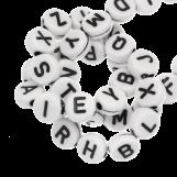 Acrylic Mix Letter Beads (7 x 3 mm) White (400 pcs)