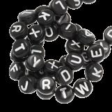 Acrylic Mix Letter Beads (7 x 4 mm) Black (400 pcs)