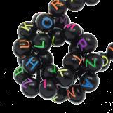 Acrylic Mix Letter Beads (7 x 8 mm) Black (200 pcs)