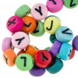 Acrylic Mix Letter Beads (7 x 4 mm) White / Mix Color (350 pcs)