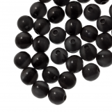 Resin Beads (6 mm) Black Shine (50 pcs)