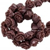 Resin Flower Beads (6 x 4 mm) Log Brown (40 pcs)