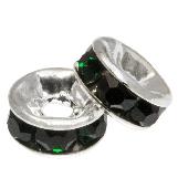 Rhinestone Spacers (4 x 2 mm) Dark Green (10 pcs)