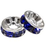 Rhinestone Spacers (6 x 3 mm) Dark Blue (10 pcs)