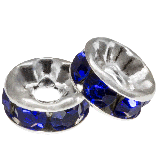 Rhinestone Spacers (8 x 4 mm) Dark Blue (10 pcs)