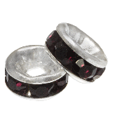 Rhinestone Spacers (6 x 3 mm) Deep Crimson (10 pcs)