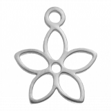Stainless Steel Charm Flower (13 x 11 mm) Antique Silver (4 pcs)