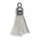 Tassels (20 mm) Cotton White Grey / Silver (5 pcs)