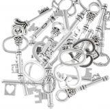 Assortment - Hangers Keys (various sizes) Antique Silver (30 pcs)