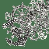 Assortment - Charm Anchor (various sizes) Antique Silver (60 pcs)
