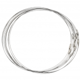 Wire Necklace with Barrel Clasps (50 cm) Silver (10 pcs)