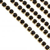 Stainless Steel Rhinestone Chain (2 mm) Black / Gold (2 meters)