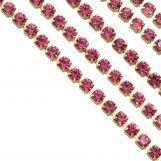 Stainless Steel Rhinestone Chain (2 mm) Pink / Gold (2 meters)