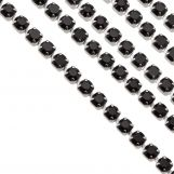 Stainless Steel Rhinestone Chain (2 mm) Black / Antique Silver (2 meters