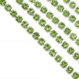 Stainless Steel Rhinestone Chain (2 mm) Green / Antique Silver (2 meters)