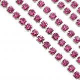 Stainless Steel Rhinestone Chain (2 mm) Pink / Antique Silver (2 meters)