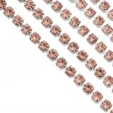 Stainless Steel Rhinestone Chain (2 mm) Peach / Antique Silver (2 meters)