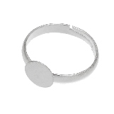 Stainless Steel Adjustable Ring (Tray 12 mm) Silver (5 pcs)