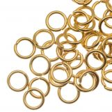 Stainless Steel Jump Rings (5 mm) Gold (50 pcs) Thickness 0.8 mm