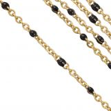 Stainless Steel Rolo Chain (2 x 1.5 mm) Black / Gold (2.5 Meter)
