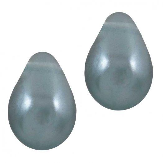 DQ Glass Pearls Drop (9 x 6 mm) Stone Blue Grey (20 pcs)