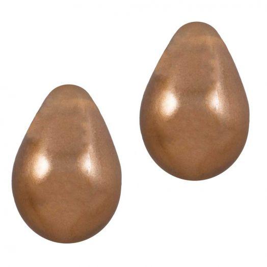 DQ Glass Pearls Drop (9 x 6 mm) Dark Topaz (20 pcs)