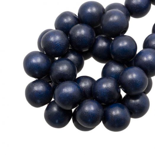 Wooden Beads Intense Look (16 mm) Navy Blue (25 pcs)