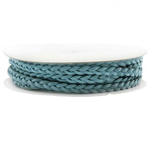 Braided Faux Suede Leather (5 mm) Sky Blue (10 Meter)