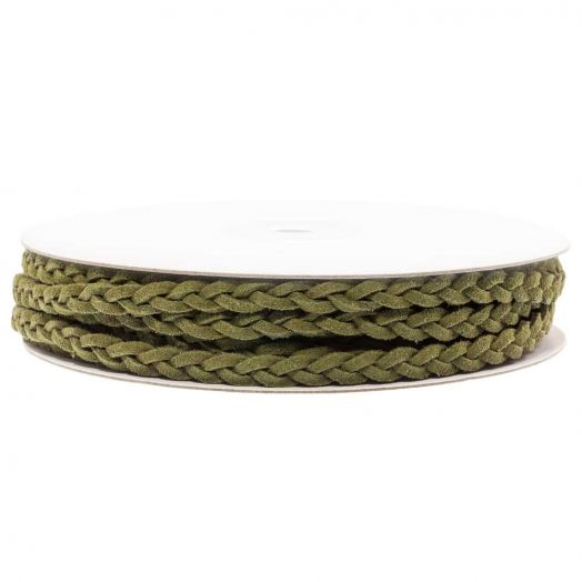 Braided Faux Suede Leather (5 mm) Olive Green (10 Meter)