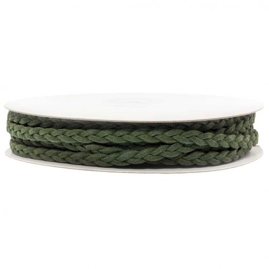 Braided Faux Suede Leather (5 mm) Forest Green (10 Meter)