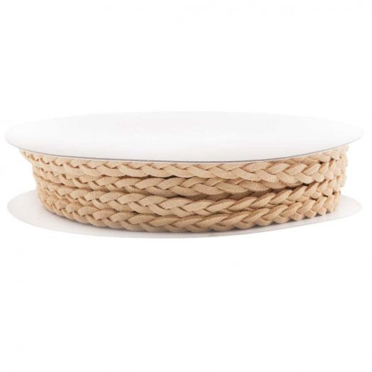 Braided Faux Suede Leather (5 mm) Sand (10 Meter)