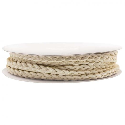 Braided Faux Suede Leather (5 mm) Cream White (10 Meter)