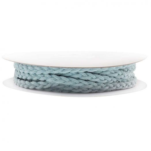 Braided Faux Suede Leather (5 mm) Soft Blue (10 Meter)