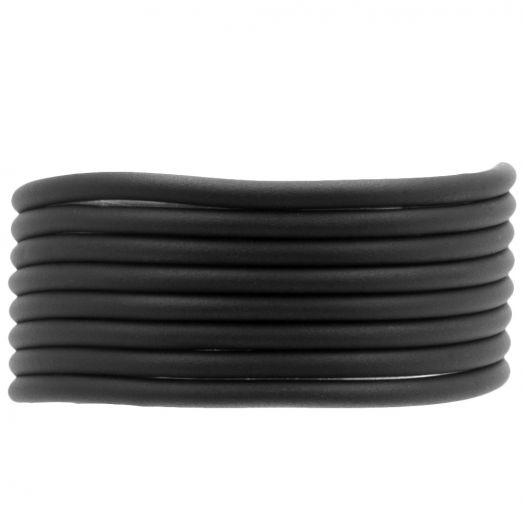 Rubber Cord (3 mm) Black (5 Meter) hollow inside