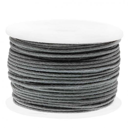 Waxed Cotton Cord (0.5 mm) Grey (25 Meter)